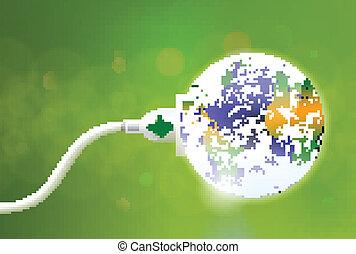 plugue, energia, verde