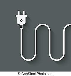 plugue, fio, elétrico