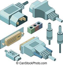 plugue, isometric, computador, drawnmi, electricidade, quadros, vga, connectors., conexões, vetorial, macaco, mão, áudio, porto
