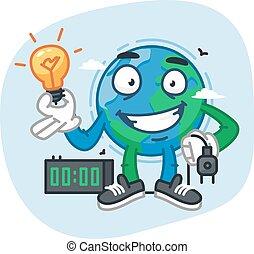 plugue, luz elétrica, personagem, segurando, bulbo, terra