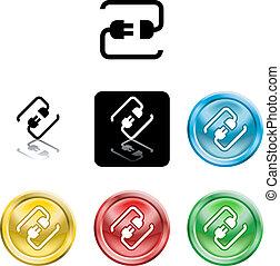 plugue, símbolo, cabo conectando, ícone