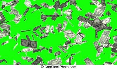 pluie, 4k, 3d, 1, tomber, factures, dollar, animation, effet
