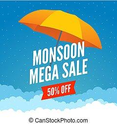 pluie, affiche, vente, pluvieux, promotion, gabarit, offre,...
