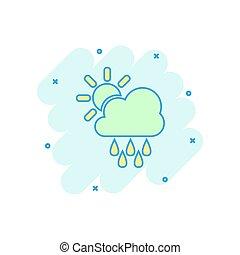 pluie, concept, nuages, business, éclaboussure, concept., effet, illustration, prévision, nuage, vecteur, pictogram., soleil, temps, comique, style., dessin animé, icône