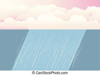 pluie, fond, illustration, vecteur, clouds., nature