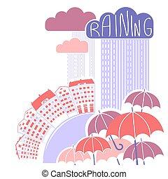 pluie, fond, nuages, ville, parapluies