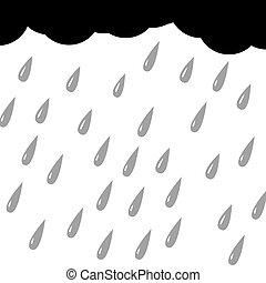 pluie, fond, silhouette, blanc