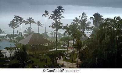 pluie, hôtel, fort, pendant, lourd, typhon, recours, océan indien, vent, exotique, photo, île