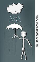 pluie, homme