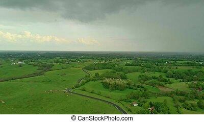 pluie, kentucky, campagne, central, sur