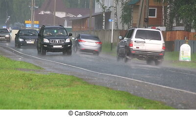 pluie, lourd, secteur, touriste