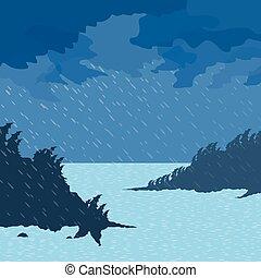 pluie, mer