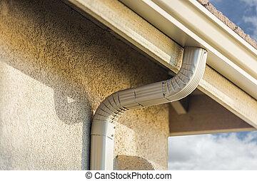 pluie, nouvelle maison, gutters., seamless, aluminium