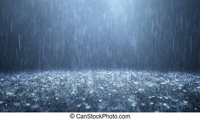 pluie, obscurément, arrière-plan bleu
