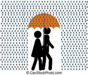 pluie, parapluie, femme homme, marche
