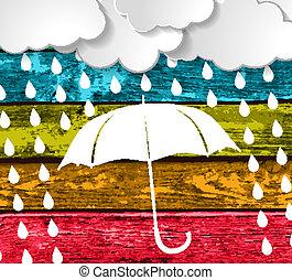 pluie, parapluie, nuages, blanc