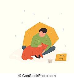 pluie, rue, sien, homme, dog., sdf