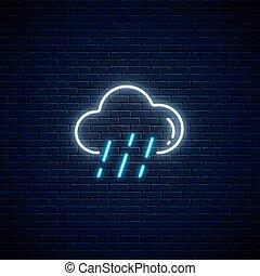 pluie, symbole, incandescent, temps, icon., style, prévision, mobile, application., nuage, néon, pluvieux