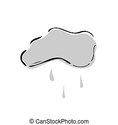 pluie, vecteur, illustration, fond, icon., nuage blanc