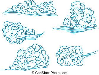 pluizig, set, wolken