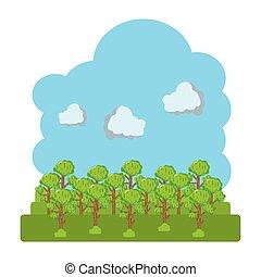 pluizig, wolken, landscape, bomen, natuur