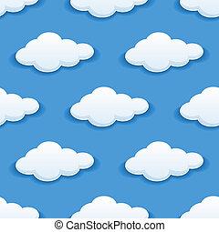 pluizig, wolken, seamless, achtergrond