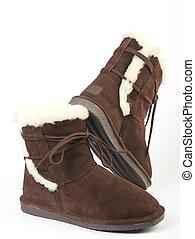pluizig, wollig, laarzen, warme, achtergrond, witte , op