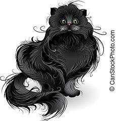 pluizig, zwarte kat