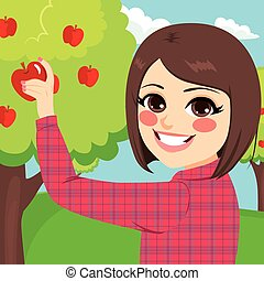 pluk, appel, meisje, tiener