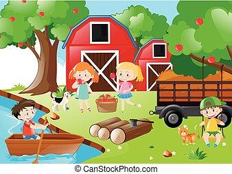 pluk, appeltjes , op, boomgaard, kinderen