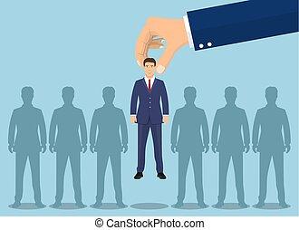 pluk, businessman., op, zakelijk, hand