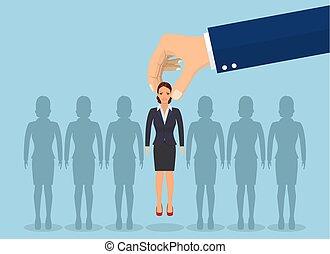 pluk, businesswoman., op, zakelijk, hand