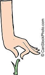 pluk, lemmet, gras, spotprent, hand