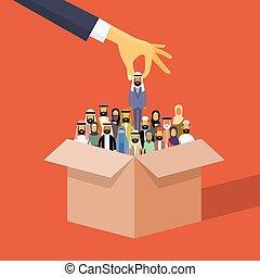 pluk, mensen, werving, zakelijk, arabier, moslim, kandidaat, persoon, doosje, hand