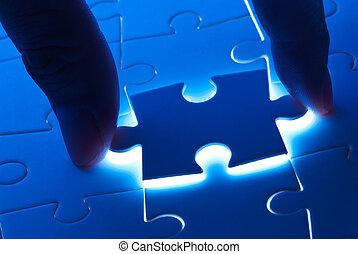 plukken, puzzelstuk, met, misterie, licht