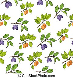 Plum and apricot seamless pattern
