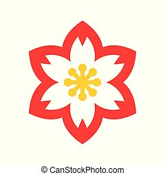 Plum blossom vector, Chinese lunar new year flat style icon