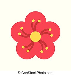 Plum blossom vector, Chinese New Year related flat style icon