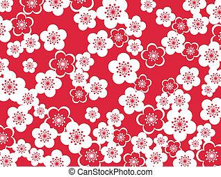 Plum blossoms background - Japanese style design of plum...