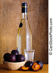 Plum brandy - Still life with traditional plum brandy