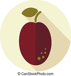 Plum flat icon with long shadow