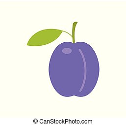 Plum. flat style. isolated on white background