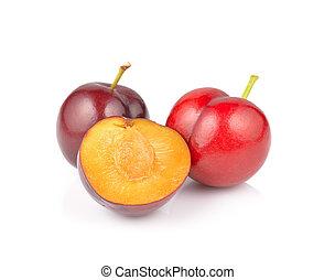 plum fruit isolated on white background