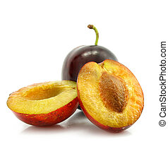 plum fruit with cut isolated on white