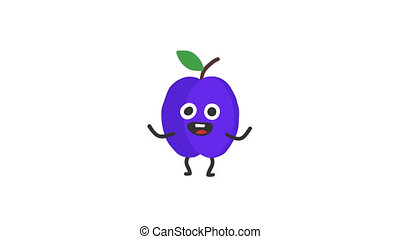 Plum funny character dances and smiles. Loop animation....