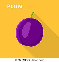 Plum icon, flat style