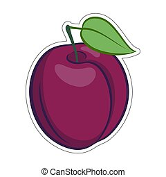 Plum Icon - Illustration of Juicy Stylized Plum Fruit. Icon...
