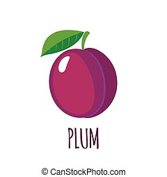 Plum icon in flat style on white background