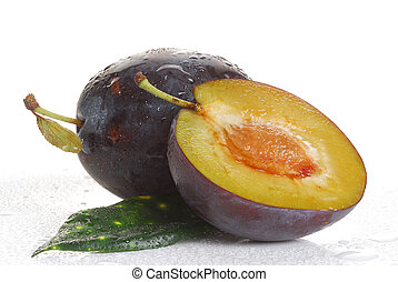 Plum - Image of a plum studio isolated on white background