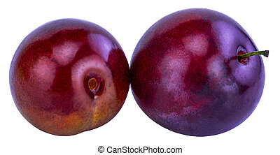 plum isolated on white background. With clipping path